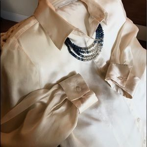 WORTHINGTON 100% SILK BLOUSE IN PEARL SIZE LARGE